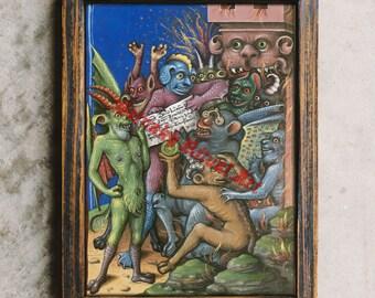 Satanic print, demons poster, Lucifer art, Satan image, Hell, medieval devils, Hellmouth, antique illustration, occult decor #493