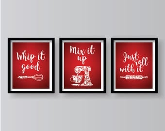 ON SALE   Red White Set Of 3 Kitchen Prints   Red Kitchen Decor   Red