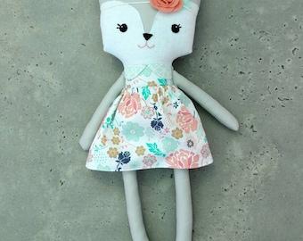 Fabric doll, Fox doll, floral outfit Plush doll, Gray Fox Doll,  stuffed doll