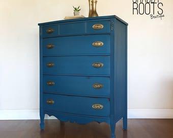 SOLD  Indigo Royal Blue Tall Dresser. Vintage Antiqur Bow Front Bedroom  Dresser. San