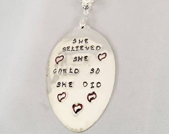 She Believed She Could So She Did, Feminist Jewelry, Encouragement Gift For Her, College Student Gift, Gift for Teen Girl, Stamped Spoon