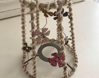 Vintage Antique Old French Beaded Flowers Lampshade Glass Beads