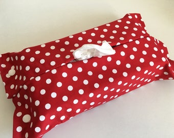 Housse pour boîte de mouchoirs de taille standard, pois blancs fond rouge