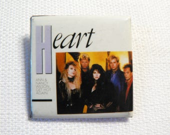 Vintage 80s Heart - Ann and Nancy Wilson - Pin / Button / Badge