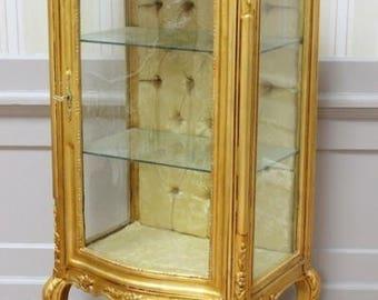 Baroque display case showcase box Cabinet antique style AlVi0807GoSGoBg