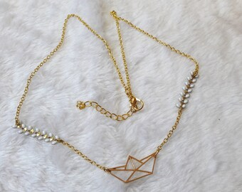 Gold White origami boat necklace