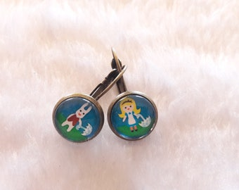 Alice and rabbit round earrings