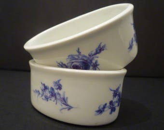BLUE  & WHITE WARE.  Small Oval French Porcelain Blue and White Bowls. French Porcelain Small Oval Bowls. Teabags, Sweeta, Votives.....Or?.