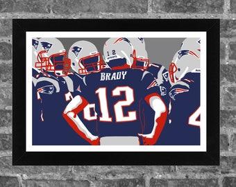 New England Brady Bunch Sports Print Art 17x11