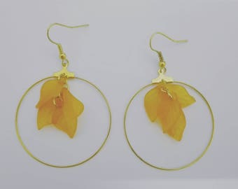 Gold hoops and leaf beads