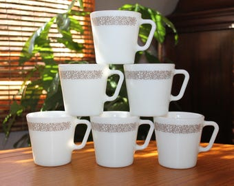Vintage Pyrex Milk Glass Coffee Cups - Woodland Brown Pyrex Milk Glass Coffee Mugs - Vintage Kitchen  Mid Century Coffee Cups  Vintage Pyrex