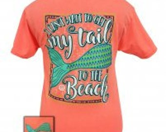 Mermaid - My Tail to the Beach - Adult T-Shirt - Girlie Girl