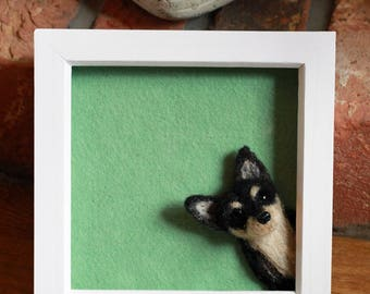 Chihuahua. Needle Felted Portrait. 3D felt dog. Mistletoe Dreams.