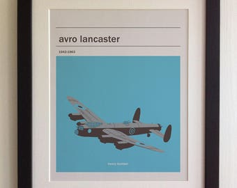 FRAMED Avro Lancaster Print - Black/White Frame, Birthday, Anniversary, Father's Day, Christmas, Fab Picture Gift
