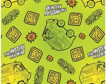 SALE Scooby Doo By Camelot Fabrics Scooby Doo Dots and Icons in Lime Licensed Collection bY Camelot Sold  in One Continuous Cut