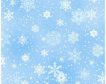Country Christmas Light Blue Snowflakes By Elizabeths Studio Fabric Sold By The Half Yard In One Continuous Cut