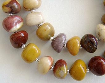Pebbles Necklace, Moukaite Jasper Silver Bead Necklace, Chunky Mookaite Jasper Necklace, Mookaite Bead Necklace