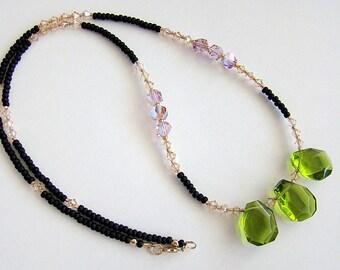 Upcountry Necklace, Olive Quartz Necklace, Green Quartz Swarovski Crystal Necklace, Green Gold Violet Quartz Crystal Bead Necklace