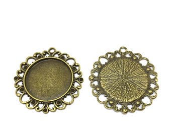 5 frames 25 mm, cabochon, antique bronze