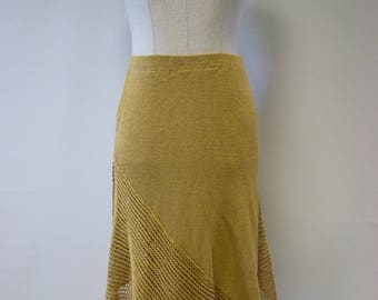 The hot price, yellow knitted linen skirt, L size.