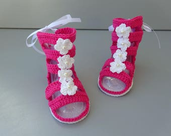 Gladiator sandals for baby, baby sandals, baby summer shoes, baby shoes with flower applique