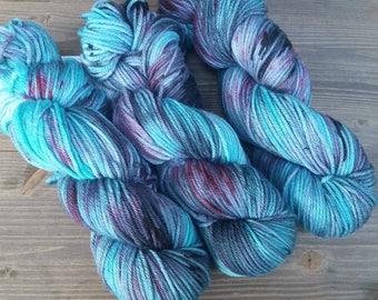Hand Dyed Yarn, Worsted Weight, 100% Superwash Merino Wool, Pink Red Aqua Blue Black