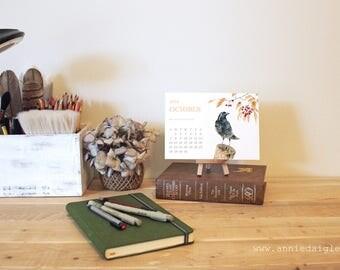 2018 Printable 5x7 Desktop Calendar with Watercolor Bird Design by Canadian Artist