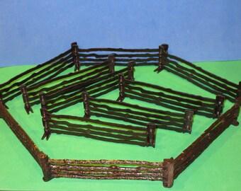 Lot of 11 Vintage MARX Western Split Rail Fences (Bar-M-Ranch)