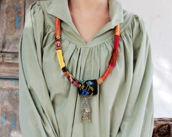 African Necklace, Statement Necklace, African Jewelry, Pendant Boho Chic, Rope Necklace, Bohemian Cord, Necklace Ethnic, Tribal Necklace