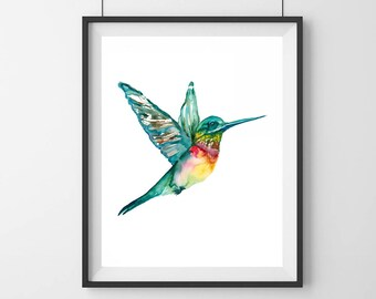 Hummingbird art painting- Bird decor- Hummingbird art - Original art