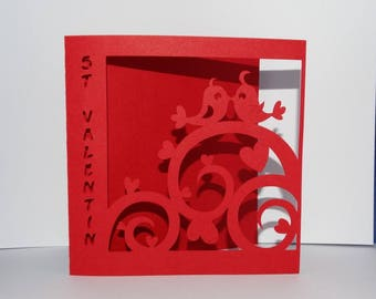 Card Valentine arabesque bird