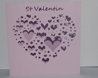 St Valentine card various heart