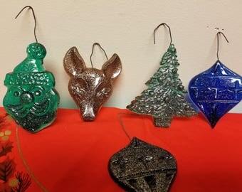 set of five resin christmas ornaments retro handmade christmas tree ornaments - Handmade Christmas Tree Ornaments