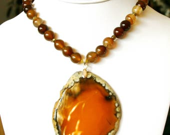 Amazing Yellow Brown Agate Pendant Necklace