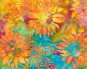 Tissu BATIK multicolore  imprimé de larges tournesols
