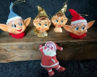 Amazing vintage Christmas elves and Santa