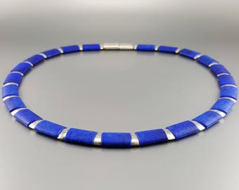 Mat Lapis Lazuli collier/necklace with Sterling silver - natural genuine Lapis Lazuli - Statement Necklace - blue and silver jewelry - AAA