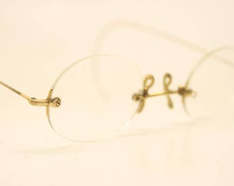 Antique Gold Tone Rimless Vintage Eyeglasses