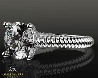 Round Brilliant cut  2.0 ct D/VVS  Moissanite engagement ring White gold 14k twisted shank solitaire solid real anniversary wedding promise