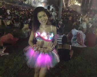 GLOWING TUTU festival tutu, edc outfit, led tutu, light up tutu, festival outfit, rainbow