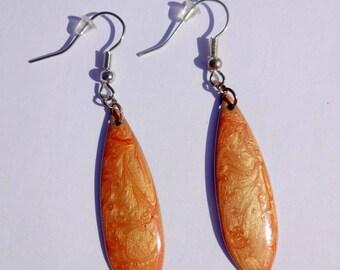 Navettes earrings * mother of Pearl orange * effect enamel