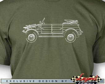 Volkswagen Kübelwagen Type 82 T-Shirt for Men - Side View - Multiple Colors Available - Size: S - 3XL - Great VW German Classic Car Gift