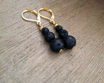Boucles d'oreilles en Perles de Lave de la Réunion – Or
