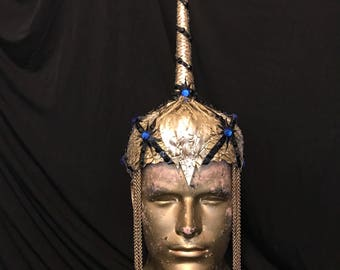 Gold vinyl unicorn helmet headdress
