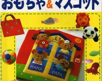 "50 FELT SEWING TOY-""Felt Sewing toy""-Japanese Craft E-Book #185.Two Instant Download Pdf files."