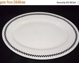 ON SALE Restaurant Ware SYRACUSE China Dearborn Checker Board Edge Dinnerware Oval Serving Platter Extremely Hard to Find, Circa 1942
