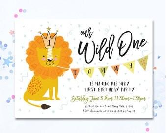 Wild One Invite, Wild One invitation, First birthday invitation, First birthday invite, Lion invite, Cute Lion invitation, kids birthday