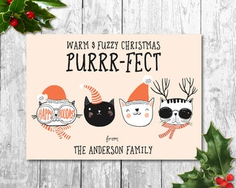 Christmas Cat, Happy Holidays, Christmas Card, Printable Christmas Card, Warm & Fuzzy, Purrfect, Cat, Cat Illustration, Christmas greetings