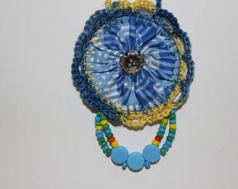 Beautiful blue vintage plaid Suffolk Puff crocheted beaded necklace