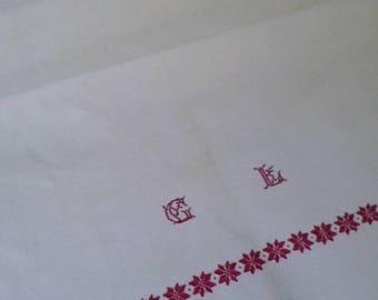 Antique Organic GL Monogrammed Hungarian Natural Linen Kitchen Bathroom Tea Towel Flower Hand embroidery